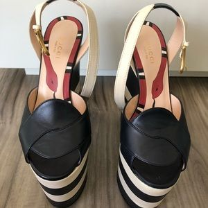 517e34783625 Gucci Shoes - Gucci - Navy white Sally leather wedge platforms